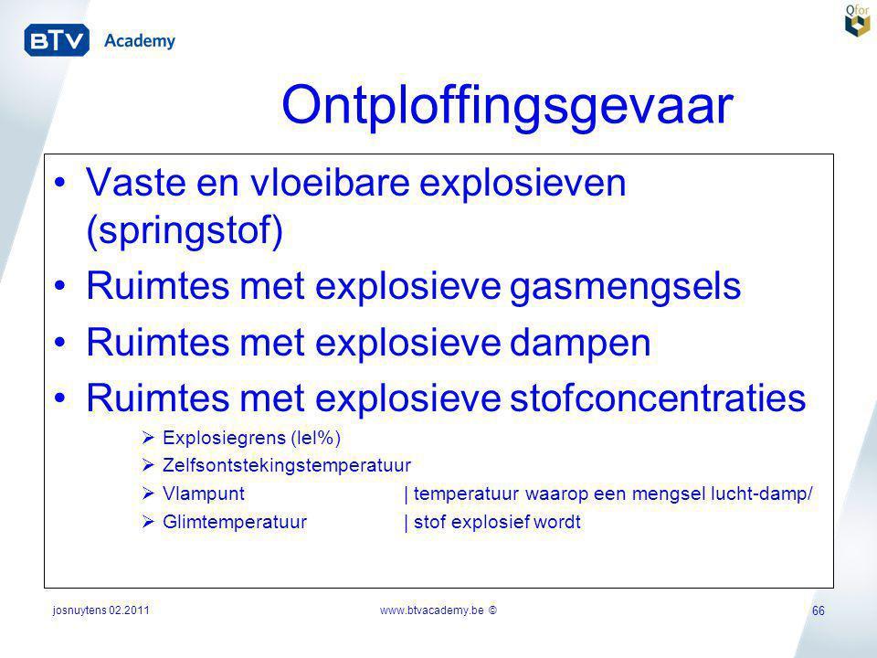 josnuytens 02.2011 66 Ontploffingsgevaar •Vaste en vloeibare explosieven (springstof) •Ruimtes met explosieve gasmengsels •Ruimtes met explosieve damp