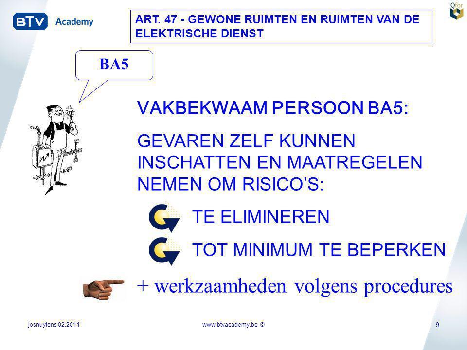 josnuytens 02.2011 9 VAKBEKWAAM PERSOON BA5: GEVAREN ZELF KUNNEN INSCHATTEN EN MAATREGELEN NEMEN OM RISICO'S: TE ELIMINEREN TOT MINIMUM TE BEPERKEN +