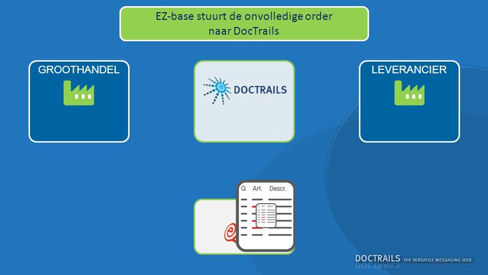 LEVERANCIERGROOTHANDEL EZ-base controleert de order en duidt fouten aan EZ-base stuurt de onvolledige order naar DocTrails