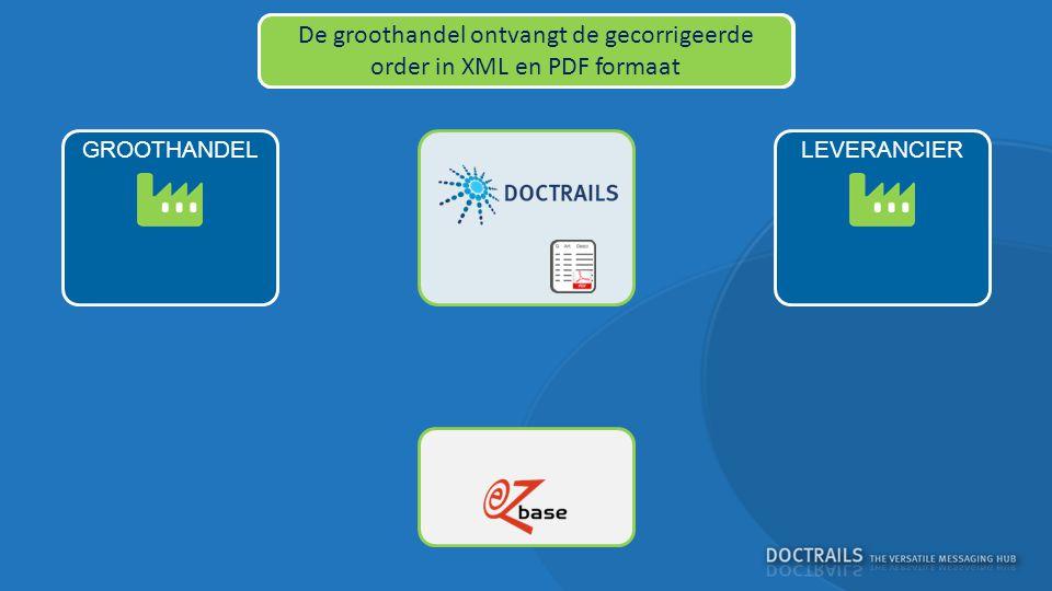 LEVERANCIERGROOTHANDEL DocTrails stuurt de bijgewerkte order terug naar de leverancier De groothandel ontvangt de gecorrigeerde order in XML en PDF formaat