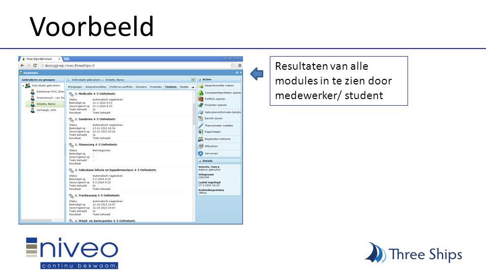 Voorbeeld Resultaten van alle modules in te zien door medewerker/ student