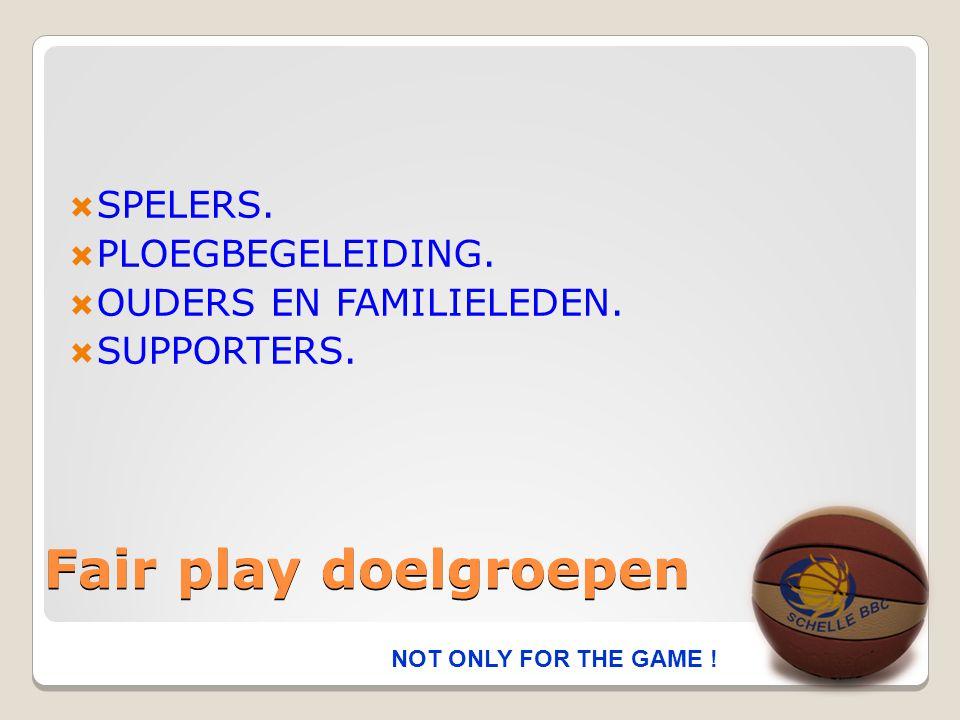 Fair play gedragsregels SPELERS  Ik respecteer de regels van het basketbal en de beslissingen van de scheidsrechters.