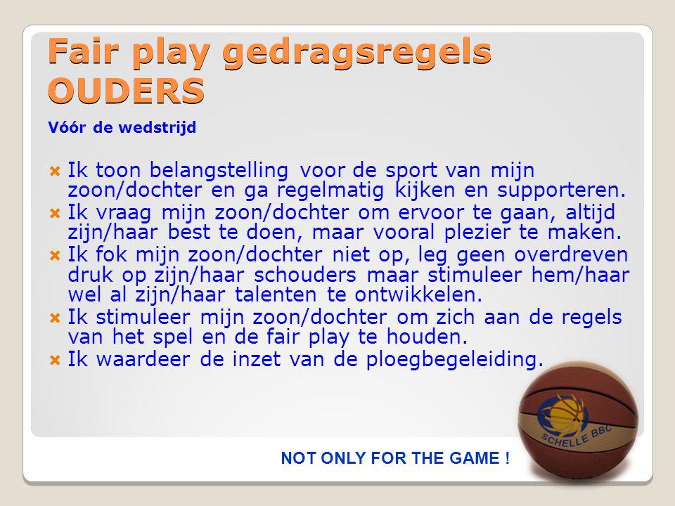 Fair play gedragsregels OUDERS Vóór de wedstrijd  Ik toon belangstelling voor de sport van mijn zoon/dochter en ga regelmatig kijken en supporteren.