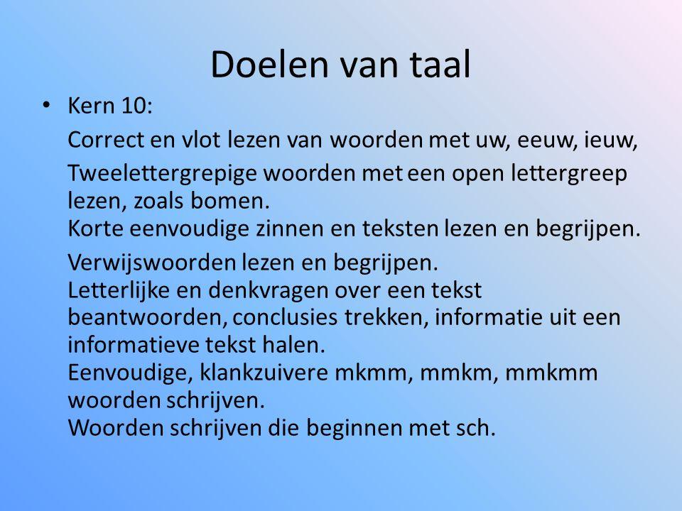 Doelen van taal • Kern 10: Correct en vlot lezen van woorden met uw, eeuw, ieuw, Tweelettergrepige woorden met een open lettergreep lezen, zoals bomen.