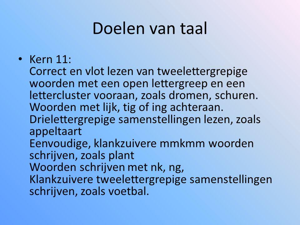 Doelen van taal • Kern 11: Correct en vlot lezen van tweelettergrepige woorden met een open lettergreep en een lettercluster vooraan, zoals dromen, schuren.