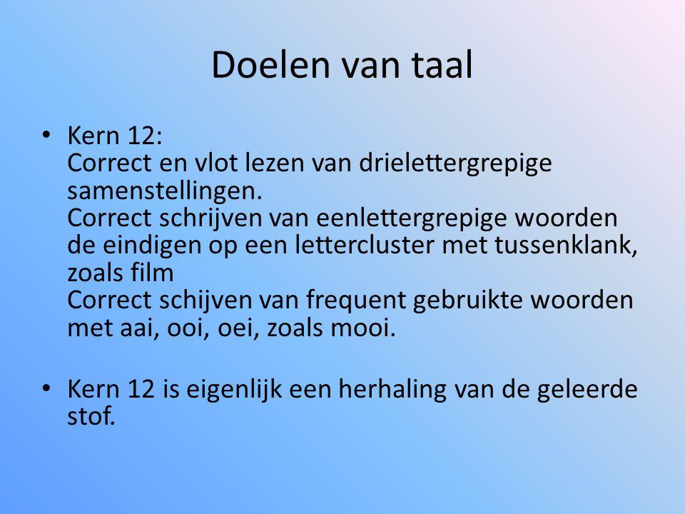 Doelen van taal • Kern 12: Correct en vlot lezen van drielettergrepige samenstellingen. Correct schrijven van eenlettergrepige woorden de eindigen op