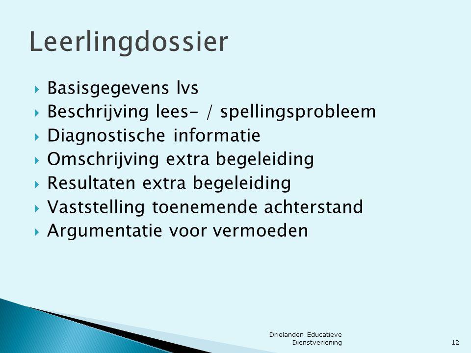 Leerlingdossier  Basisgegevens lvs  Beschrijving lees- / spellingsprobleem  Diagnostische informatie  Omschrijving extra begeleiding  Resultaten