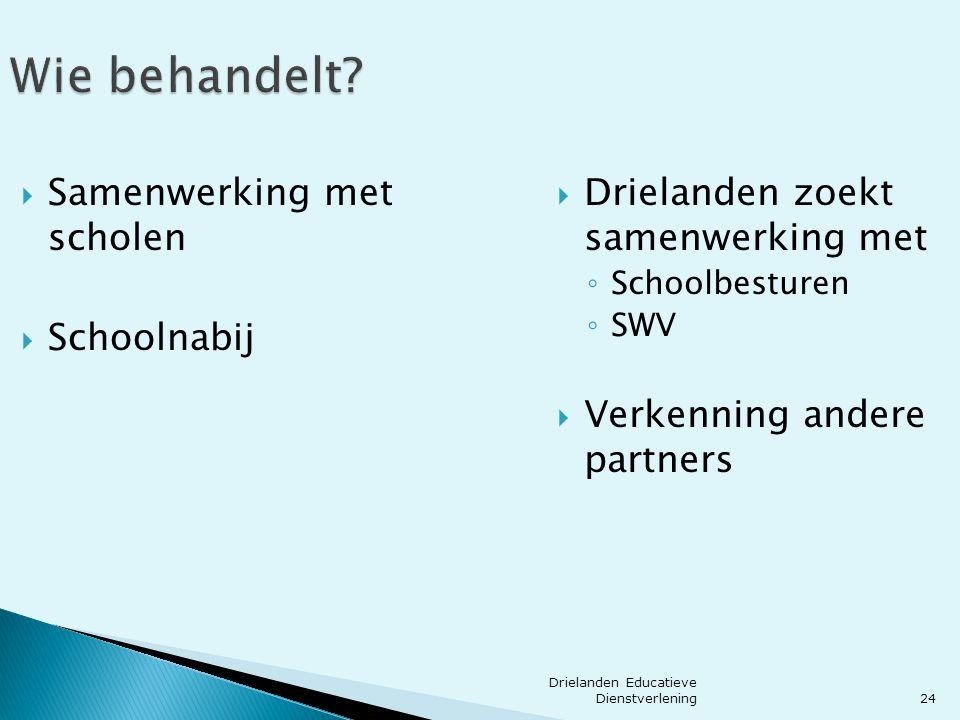 24 Wie behandelt?  Samenwerking met scholen  Schoolnabij  Drielanden zoekt samenwerking met ◦ Schoolbesturen ◦ SWV  Verkenning andere partners Dri