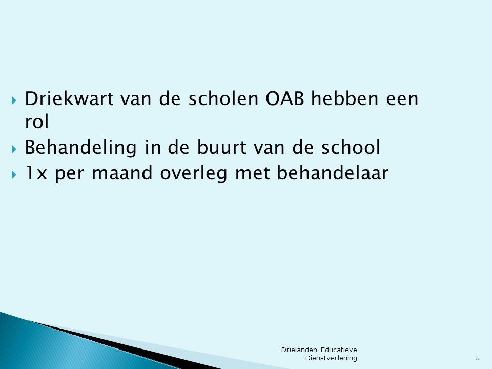 5  Driekwart van de scholen OAB hebben een rol  Behandeling in de buurt van de school  1x per maand overleg met behandelaar Drielanden Educatieve D
