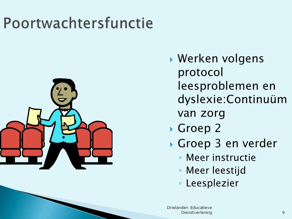 9 Poortwachtersfunctie  Werken volgens protocol leesproblemen en dyslexie:Continuüm van zorg  Groep 2  Groep 3 en verder ◦ Meer instructie ◦ Meer l