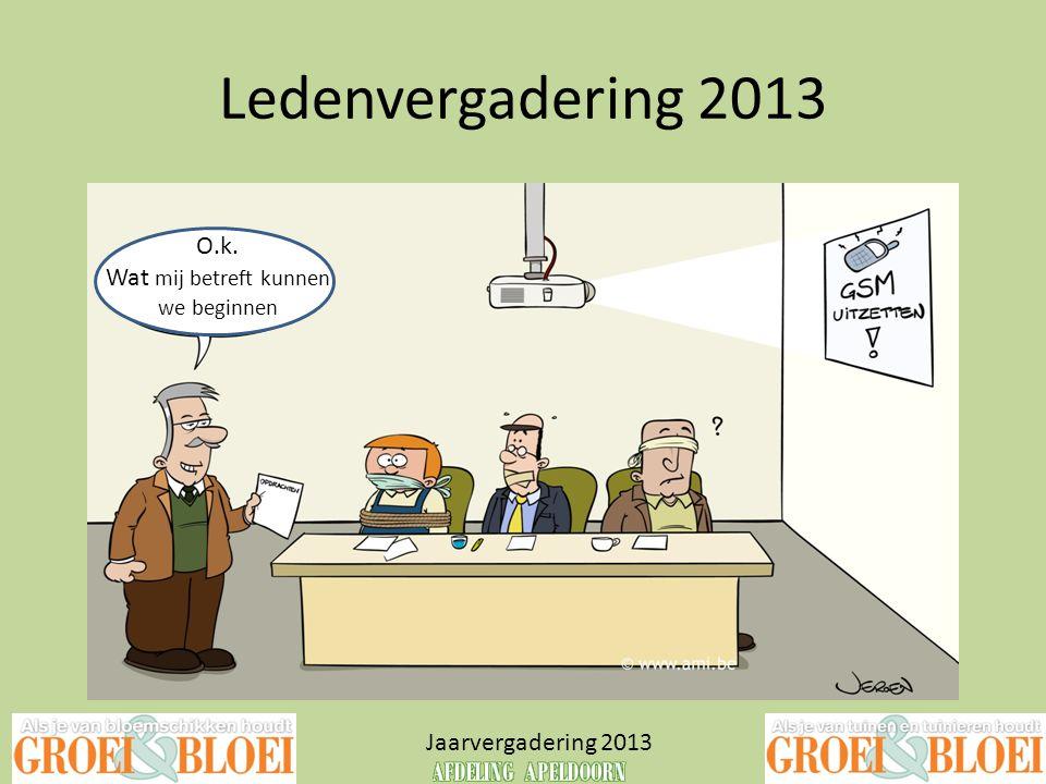 Ledenvergadering 2013 Jaarvergadering 2013 O.k. Wat mij betreft kunnen we beginnen