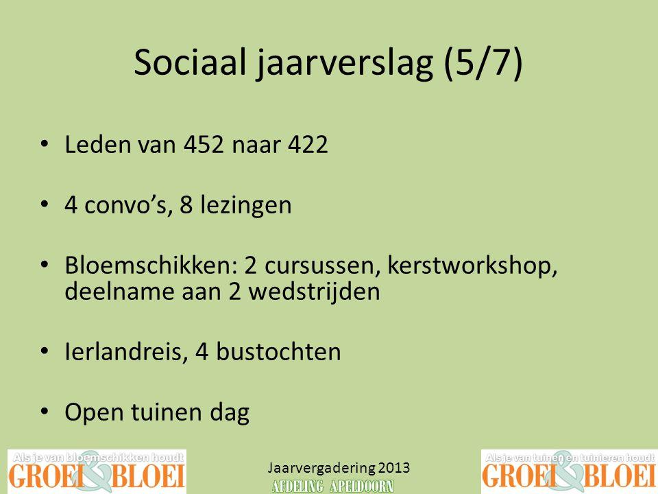 Sociaal jaarverslag (5/7) Jaarvergadering 2013 • Leden van 452 naar 422 • 4 convo's, 8 lezingen • Bloemschikken: 2 cursussen, kerstworkshop, deelname