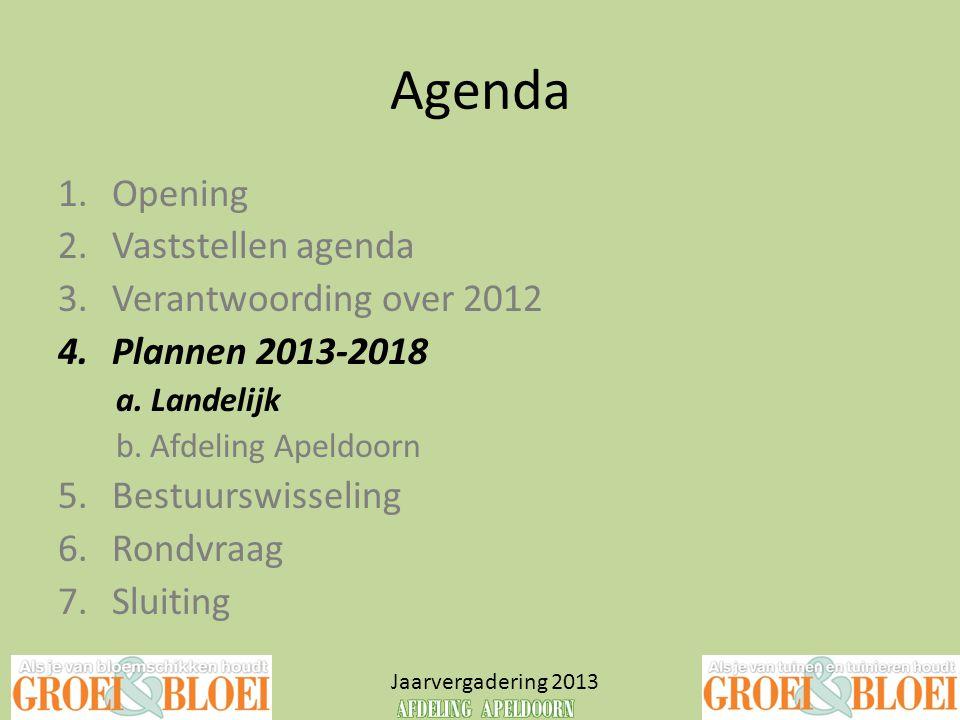 Agenda Jaarvergadering 2013 1.Opening 2.Vaststellen agenda 3.Verantwoording over 2012 4.Plannen 2013-2018 a. Landelijk b. Afdeling Apeldoorn 5.Bestuur