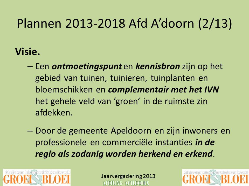 Plannen 2013-2018 Afd A'doorn (2/13) Jaarvergadering 2013 Visie. – Een ontmoetingspunt en kennisbron zijn op het gebied van tuinen, tuinieren, tuinpla