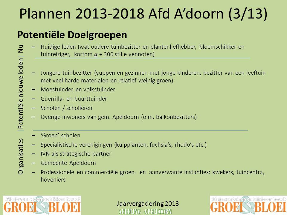 Plannen 2013-2018 Afd A'doorn (3/13) Jaarvergadering 2013 Potentiële Doelgroepen – Huidige leden (wat oudere tuinbezitter en plantenliefhebber, bloems