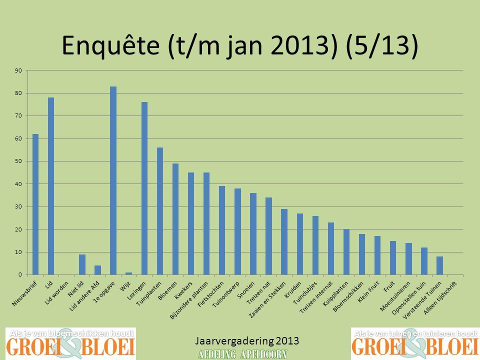 Enquête (t/m jan 2013) (5/13) Jaarvergadering 2013