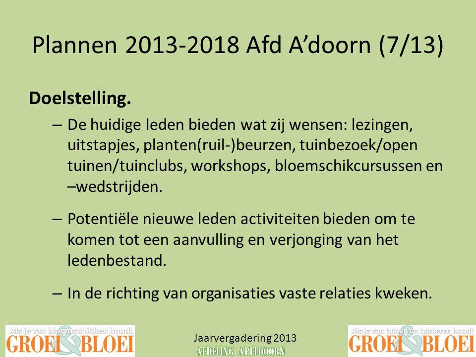 Plannen 2013-2018 Afd A'doorn (7/13) Jaarvergadering 2013 Doelstelling. – De huidige leden bieden wat zij wensen: lezingen, uitstapjes, planten(ruil-)