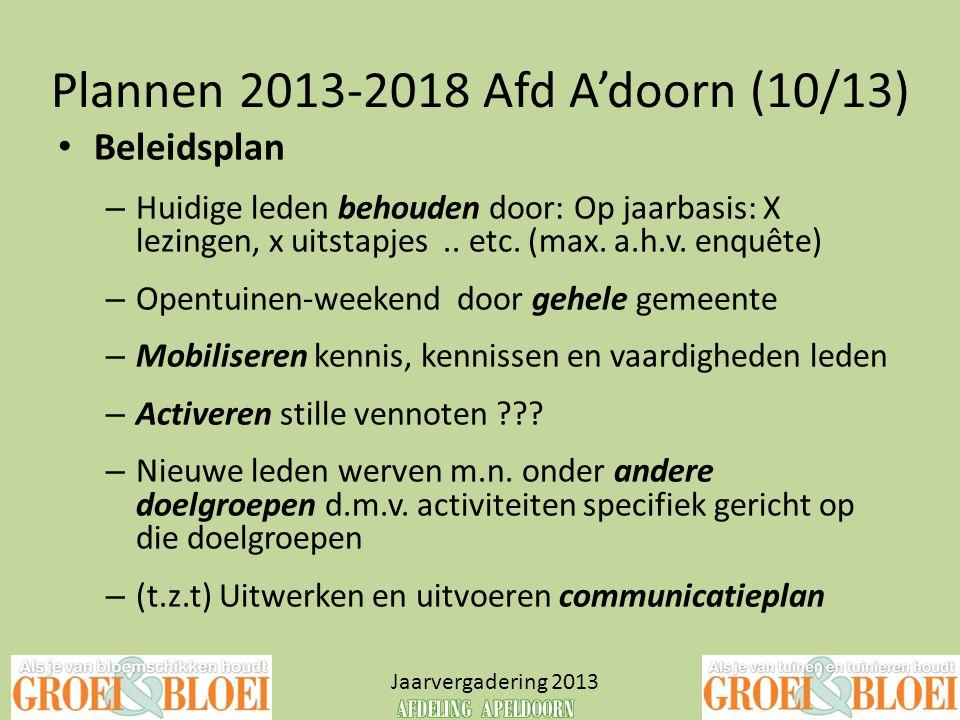 Plannen 2013-2018 Afd A'doorn (10/13) Jaarvergadering 2013 • Beleidsplan – Huidige leden behouden door: Op jaarbasis: X lezingen, x uitstapjes.. etc.