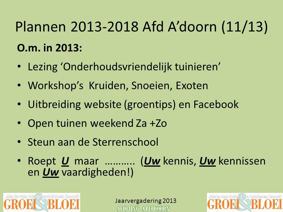 Plannen 2013-2018 Afd A'doorn (11/13) Jaarvergadering 2013 O.m. in 2013: • Lezing 'Onderhoudsvriendelijk tuinieren' • Workshop's Kruiden, Snoeien, Exo