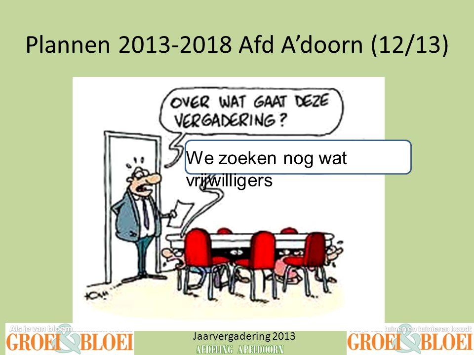 Plannen 2013-2018 Afd A'doorn (12/13) Jaarvergadering 2013 We zoeken nog wat vrijwilligers