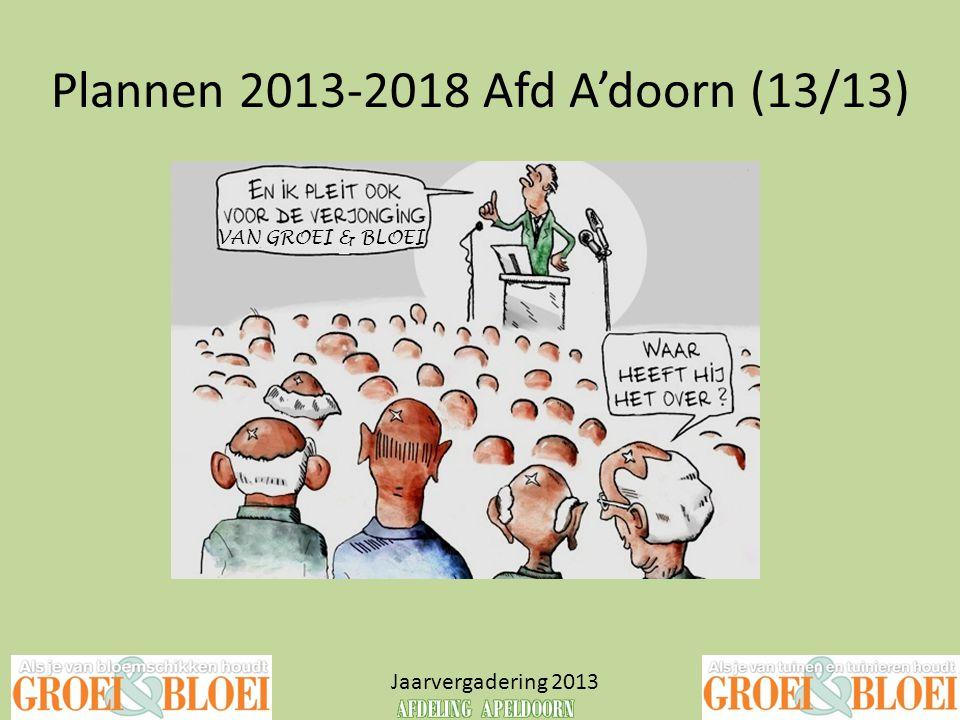 Plannen 2013-2018 Afd A'doorn (13/13) Jaarvergadering 2013 VAN GROEI & BLOEI