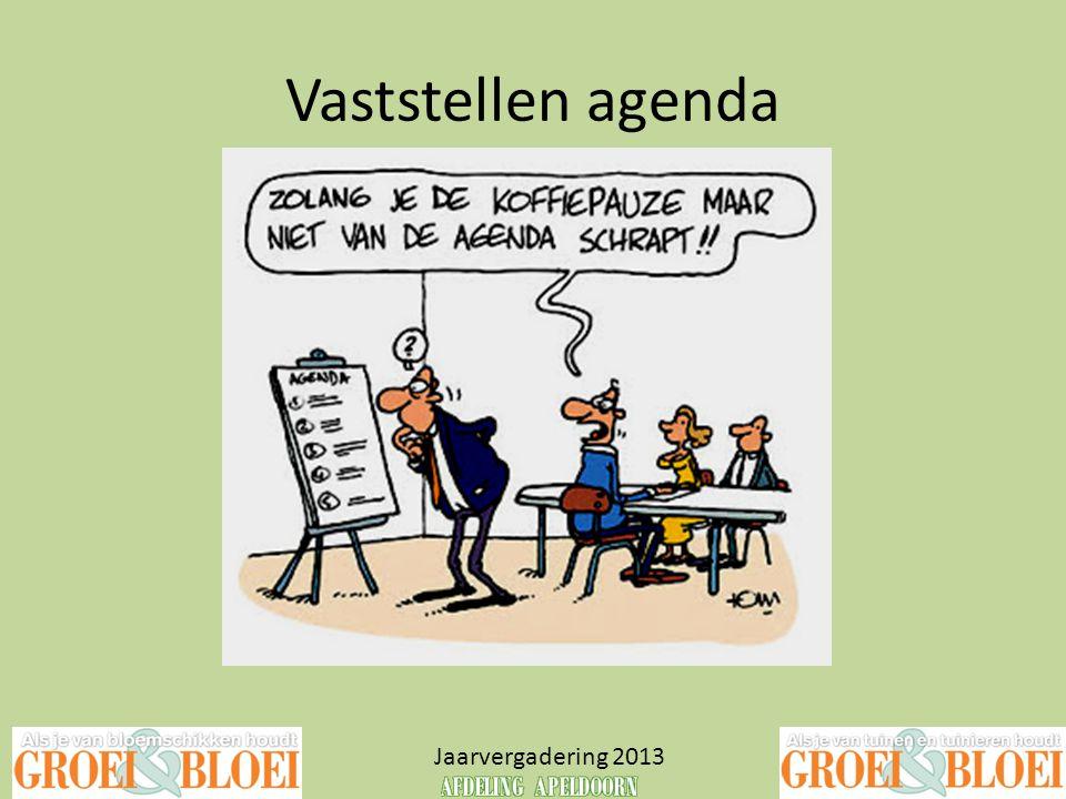 Vaststellen agenda Jaarvergadering 2013