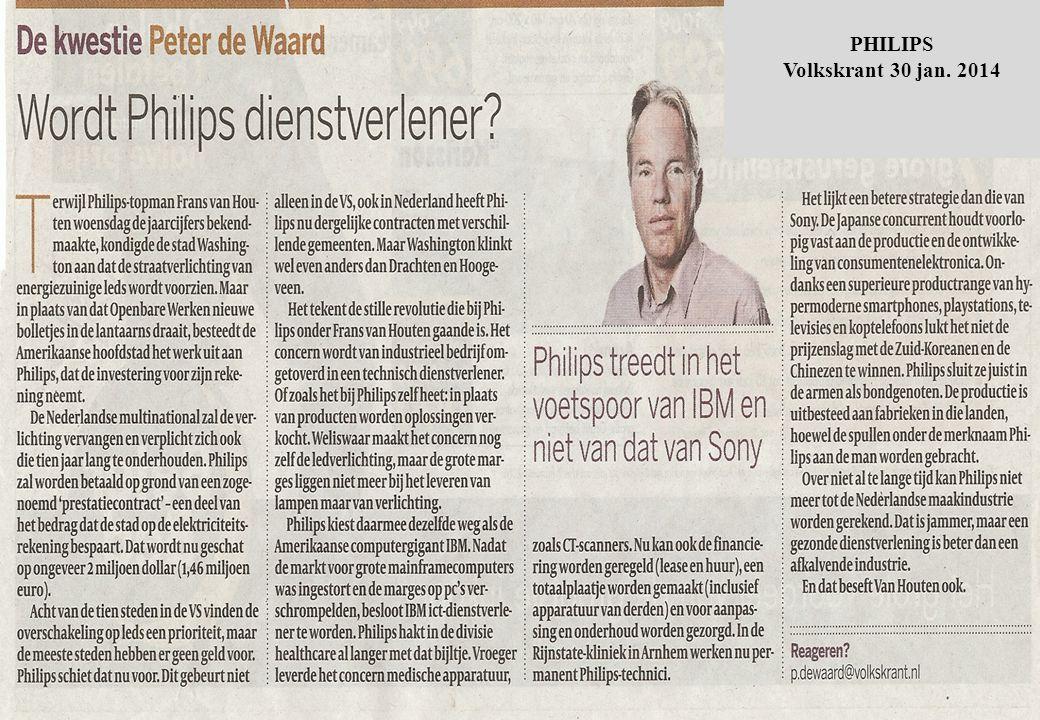'Philips kan concurrentie met China als producent niet meer aan' Philips heeft NatLab jaren geleden opengebroken en maakt onderdeel uit van innovatie Mechatronica community rond Eindhoven 'Philips treedt in voetspoor van IBM als Serviceverlener van o.a.