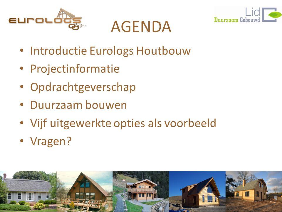 AGENDA • Introductie Eurologs Houtbouw • Projectinformatie • Opdrachtgeverschap • Duurzaam bouwen • Vijf uitgewerkte opties als voorbeeld • Vragen?