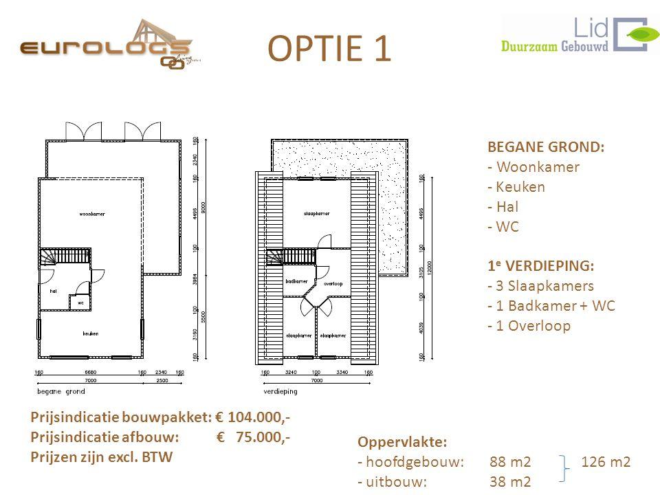BEGANE GROND: - Woonkamer - Keuken - Hal - WC 1 e VERDIEPING: - 3 Slaapkamers - 1 Badkamer + WC - 1 Overloop Prijsindicatie bouwpakket: € 104.000,- Pr