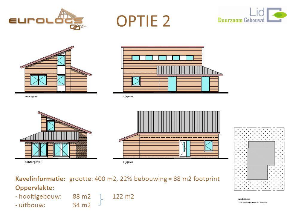OPTIE 2 Kavelinformatie: grootte: 400 m2, 22% bebouwing = 88 m2 footprint Oppervlakte: - hoofdgebouw: 88 m2 122 m2 - uitbouw:34 m2