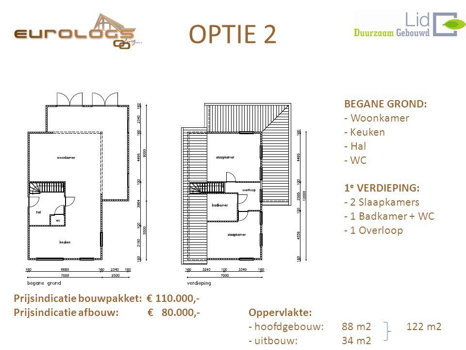 BEGANE GROND: - Woonkamer - Keuken - Hal - WC 1 e VERDIEPING: - 2 Slaapkamers - 1 Badkamer + WC - 1 Overloop Prijsindicatie bouwpakket: € 110.000,- Pr