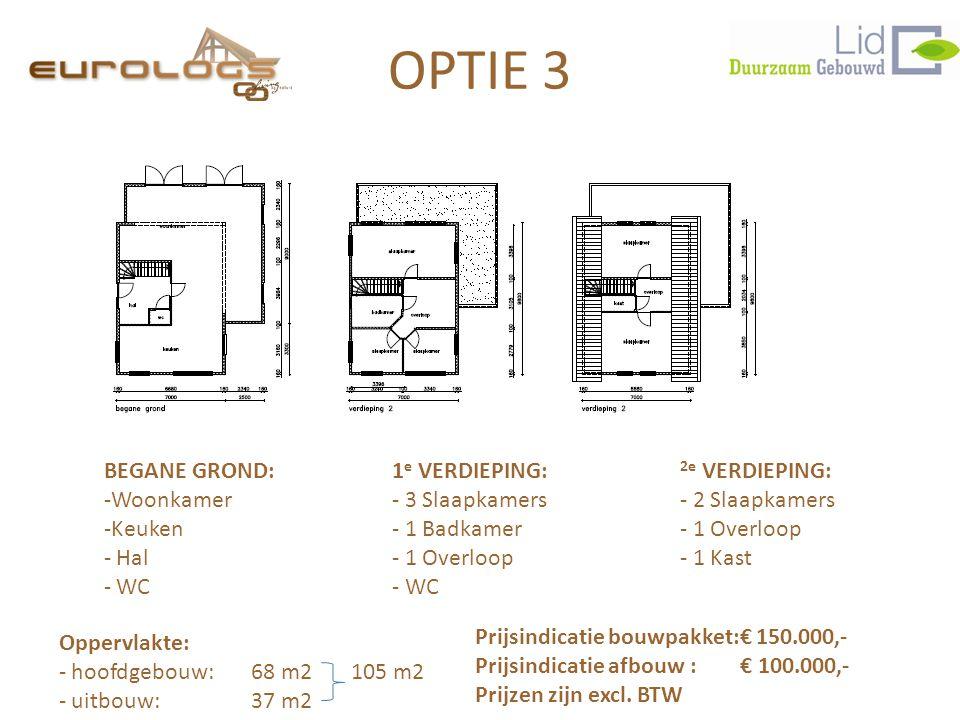 BEGANE GROND:1 e VERDIEPING: 2e VERDIEPING: -Woonkamer- 3 Slaapkamers- 2 Slaapkamers -Keuken- 1 Badkamer- 1 Overloop - Hal- 1 Overloop- 1 Kast - WC- W
