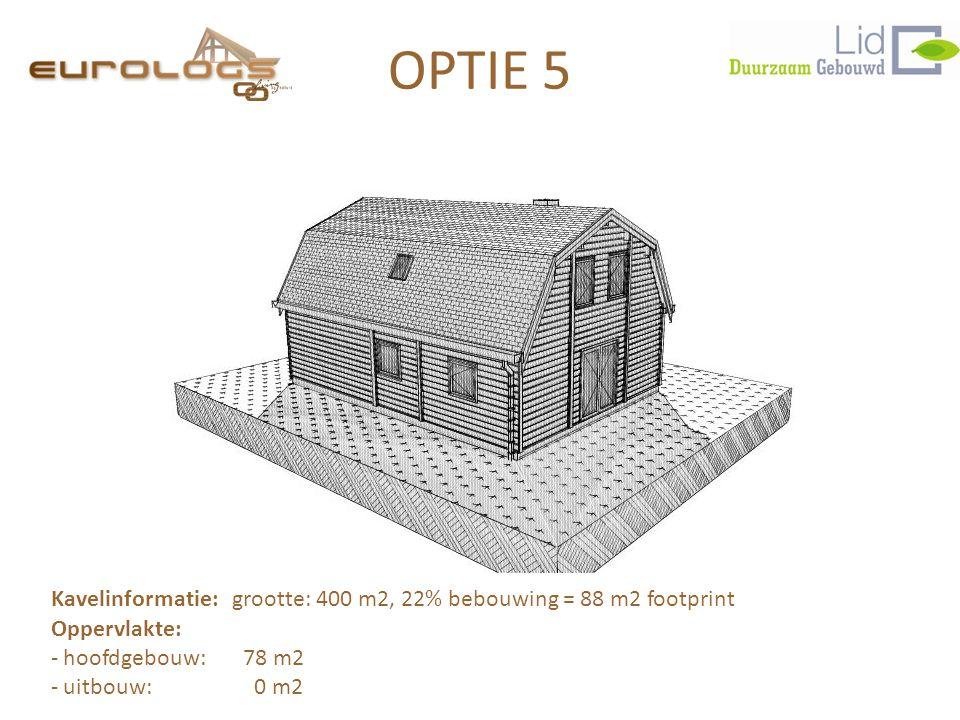 OPTIE 5 Kavelinformatie: grootte: 400 m2, 22% bebouwing = 88 m2 footprint Oppervlakte: - hoofdgebouw: 78 m2 - uitbouw: 0 m2