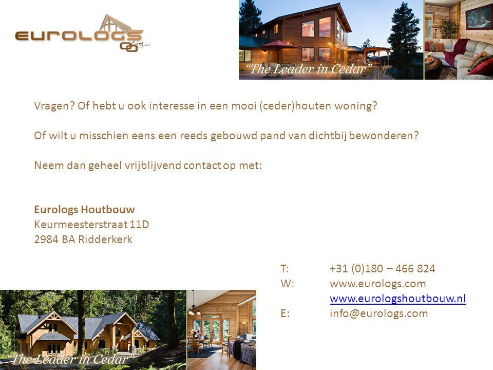 Vragen? Of hebt u ook interesse in een mooi (ceder)houten woning? Of wilt u misschien eens een reeds gebouwd pand van dichtbij bewonderen? Neem dan ge