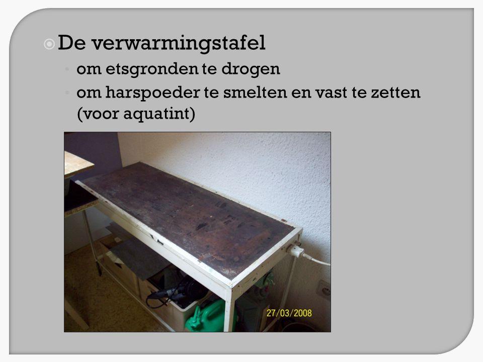  De verwarmingstafel • om etsgronden te drogen • om harspoeder te smelten en vast te zetten (voor aquatint)