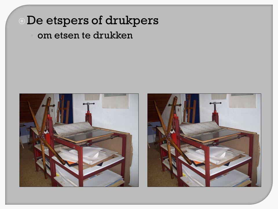  De etspers of drukpers • om etsen te drukken