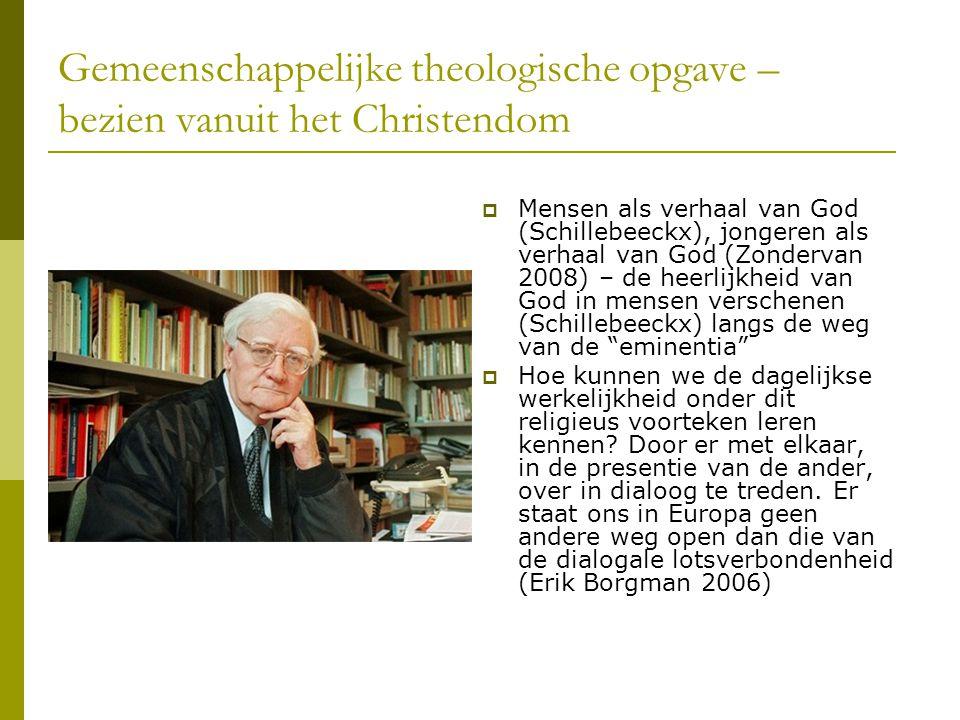 Gemeenschappelijke theologische opgave – bezien vanuit het Christendom  Mensen als verhaal van God (Schillebeeckx), jongeren als verhaal van God (Zon