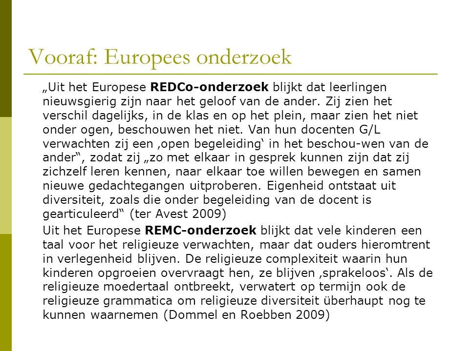 """Vooraf: Europees onderzoek """"Uit het Europese REDCo-onderzoek blijkt dat leerlingen nieuwsgierig zijn naar het geloof van de ander. Zij zien het versch"""