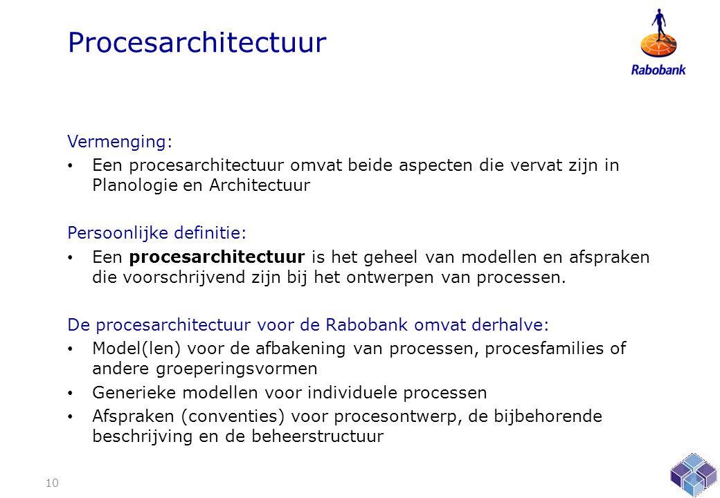 Procesarchitectuur Vermenging: • Een procesarchitectuur omvat beide aspecten die vervat zijn in Planologie en Architectuur Persoonlijke definitie: • Een procesarchitectuur is het geheel van modellen en afspraken die voorschrijvend zijn bij het ontwerpen van processen.