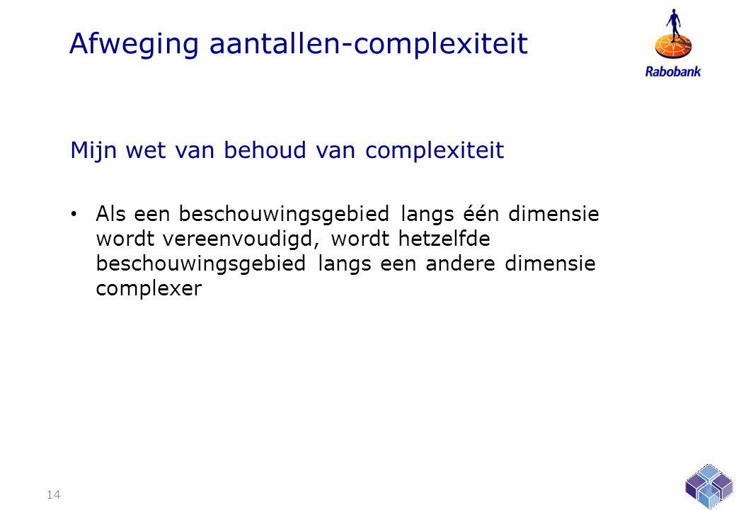 Afweging aantallen-complexiteit Mijn wet van behoud van complexiteit • Als een beschouwingsgebied langs één dimensie wordt vereenvoudigd, wordt hetzelfde beschouwingsgebied langs een andere dimensie complexer 14