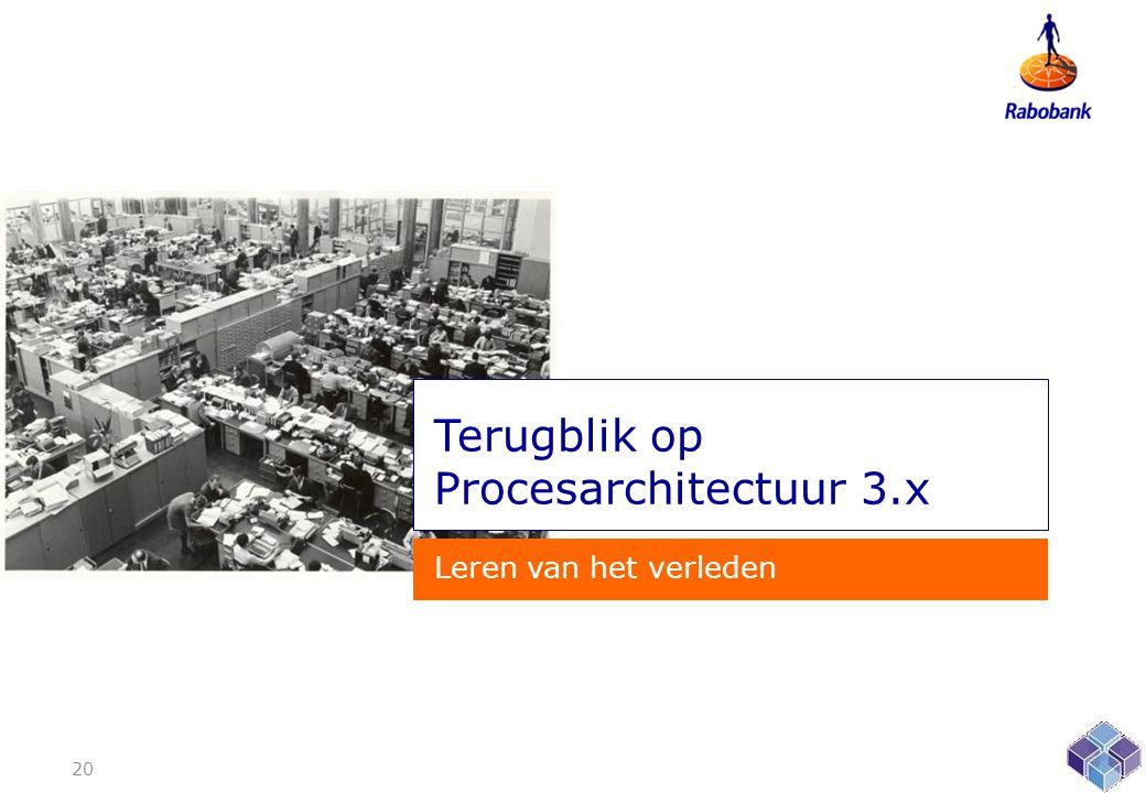 Terugblik op Procesarchitectuur 3.x Leren van het verleden 20