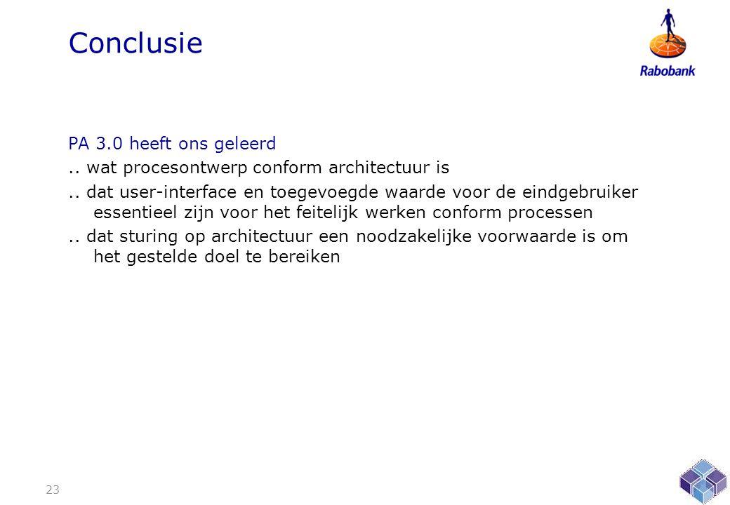 Conclusie PA 3.0 heeft ons geleerd..wat procesontwerp conform architectuur is..