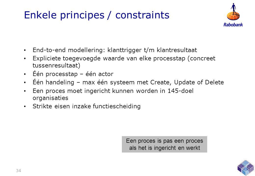 Enkele principes / constraints • End-to-end modellering: klanttrigger t/m klantresultaat • Expliciete toegevoegde waarde van elke processtap (concreet tussenresultaat) • Één processtap – één actor • Één handeling – max één systeem met Create, Update of Delete • Een proces moet ingericht kunnen worden in 145-doel organisaties • Strikte eisen inzake functiescheiding 34 Een proces is pas een proces als het is ingericht en werkt