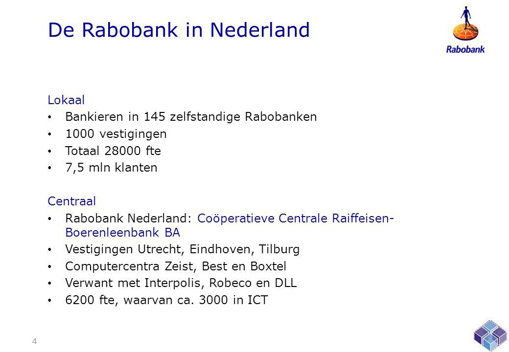 De Rabobank in Nederland Lokaal • Bankieren in 145 zelfstandige Rabobanken • 1000 vestigingen • Totaal 28000 fte • 7,5 mln klanten Centraal • Rabobank Nederland: Coöperatieve Centrale Raiffeisen- Boerenleenbank BA • Vestigingen Utrecht, Eindhoven, Tilburg • Computercentra Zeist, Best en Boxtel • Verwant met Interpolis, Robeco en DLL • 6200 fte, waarvan ca.