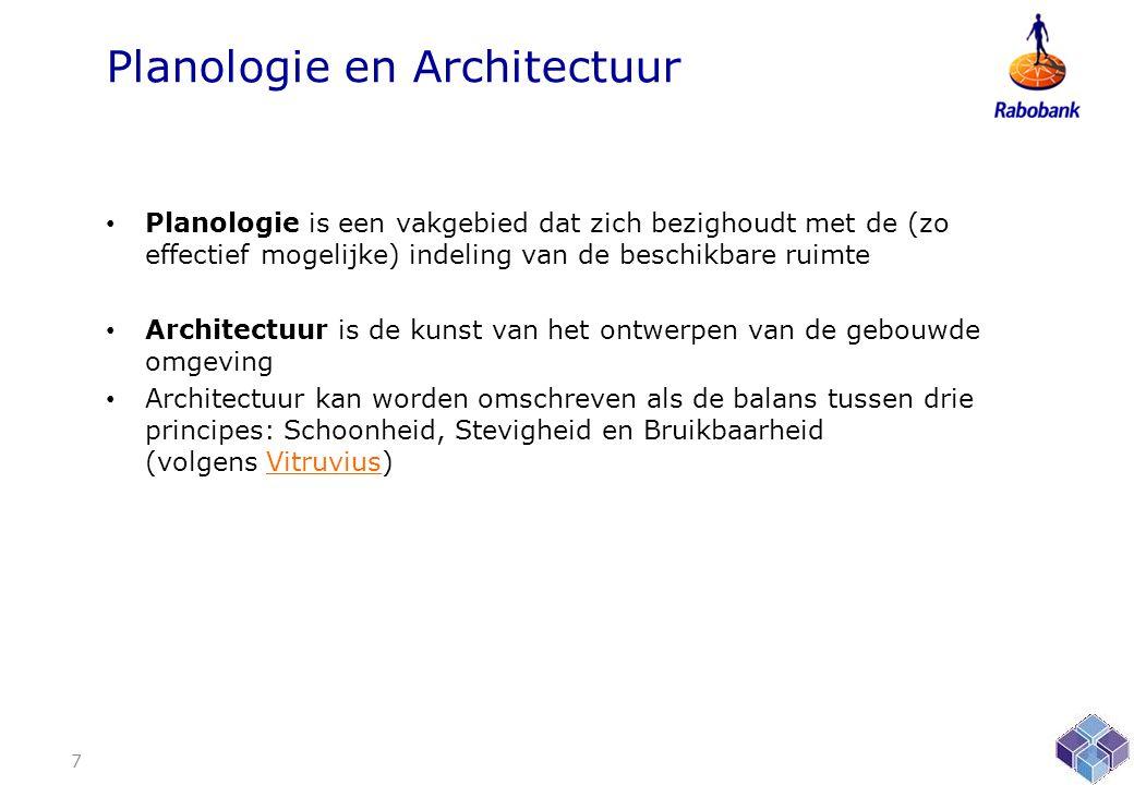 Planologie en Architectuur • Planologie is een vakgebied dat zich bezighoudt met de (zo effectief mogelijke) indeling van de beschikbare ruimte • Architectuur is de kunst van het ontwerpen van de gebouwde omgeving • Architectuur kan worden omschreven als de balans tussen drie principes: Schoonheid, Stevigheid en Bruikbaarheid (volgens Vitruvius)Vitruvius 7