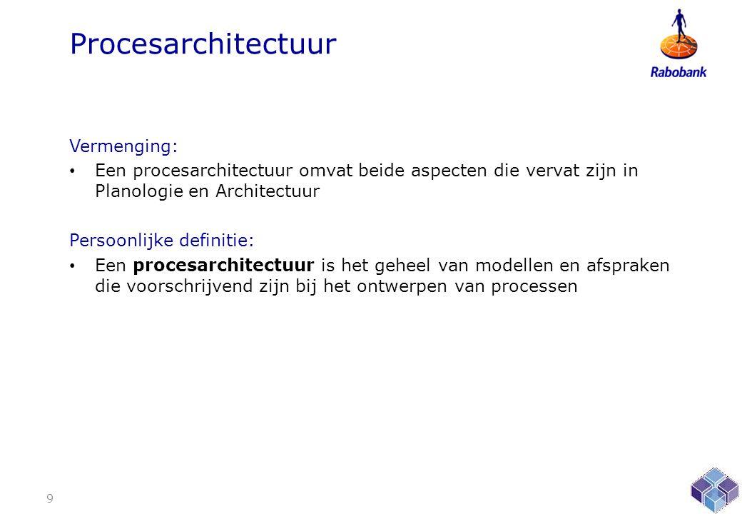 Procesarchitectuur Vermenging: • Een procesarchitectuur omvat beide aspecten die vervat zijn in Planologie en Architectuur Persoonlijke definitie: • Een procesarchitectuur is het geheel van modellen en afspraken die voorschrijvend zijn bij het ontwerpen van processen 9
