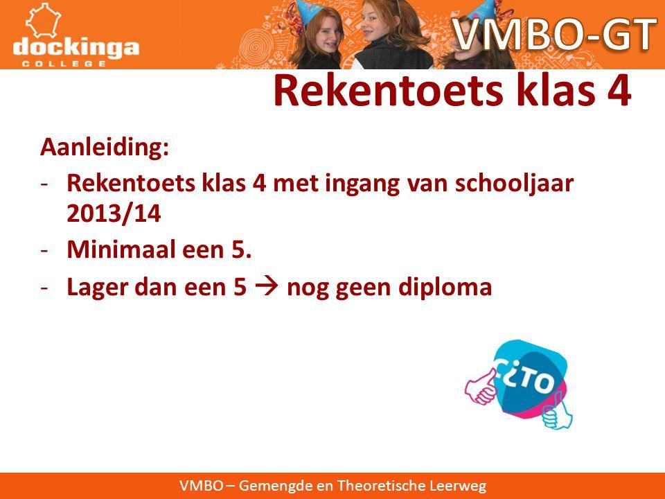 VMBO – Gemengde en Theoretische Leerweg Rekenbeleid Dockingacollege VMBO-GT