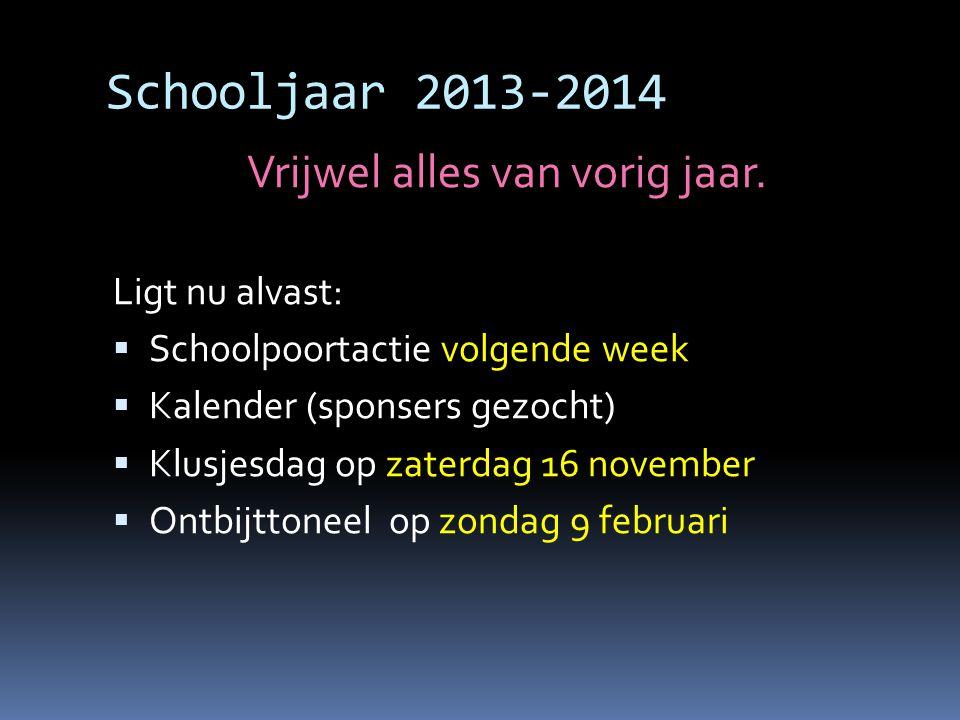 Schooljaar 2013-2014 Vrijwel alles van vorig jaar.