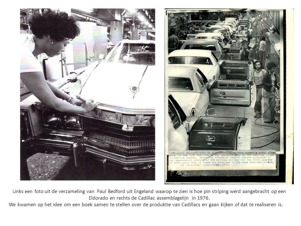 Links een foto uit de verzameling van Paul Bedford uit Engeland waarop te zien is hoe pin striping werd aangebracht op een Eldorado en rechts de Cadil