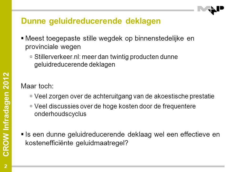 CROW Infradagen 2012 Dunne geluidreducerende deklagen  Meest toegepaste stille wegdek op binnenstedelijke en provinciale wegen  Stillerverkeer.nl: m